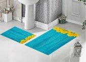 Bh 1738 Sarı Çiçekler Mavi 3d Banyo Paspas Takımı