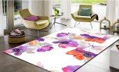 Sh 1637 3d Modern Mor Turuncu Çiçekler Salon Halısı