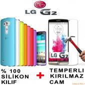Lg G2 Kılıf Silikon Kırılmaz Cam Ekran Koruyucu