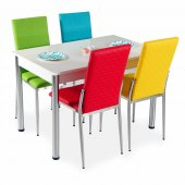 Beyaz Sabit Yemek Masası Takımı Masa Sandalye Mutfak Tak