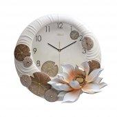 1002 W Kabartma Çiçek Desenli Duvar Saati