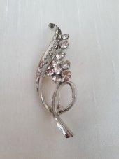 Bayan Broş Takı Aksesuar Boncuklu Gümüş Silver
