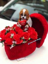 Peluş Kalp Kutu 17 Adet Kırmızı Gül Dolu Kalp Kutu Peluş Tweety Hediyeli Sevgililer Günü Hediyesi,peluş Ayı