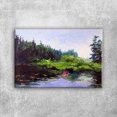 Orman Nehri, Doğa Manzarası 1 Yağlı Boya Sanat Kanvas Tablo