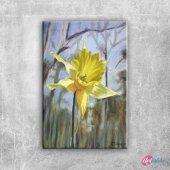 Nergis, Sarı Renkli Çiçekler İç Mekan Dekoratif Kanvas Tablo