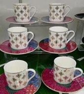 6lı Porselen Beyaz Altın Yaldız Çiçek Desen Kahve Fincan Takımı