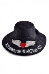 Fly Over Siyah Sloganlı Şapka
