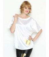 Bonalodi Beyaz Sevimli Gümüş Desen Saten Kadın Bluz