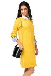 Bonalodi Şardonlu Yırtmaçlı Örme Sarı Tunik Elbise