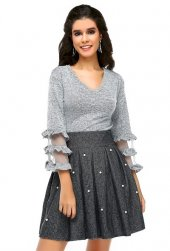 Bonalodi V Yaka Yumoş Gri Tül Kol Detay Kadın Bluz