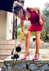 Bonalodi Bordo Kalp Yaka Kadın Elbise