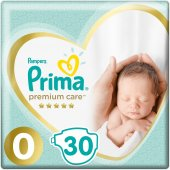 Prima Bebek Bezi Premium Care 0 Beden Prematüre Tekli Paket 30 Ad