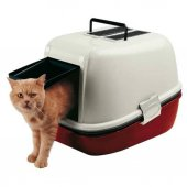 Kediler İçin Elekli Kırmızı Tuvalet Ferplast