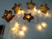 Ahşap Yıldız Şekilli Pilli Led Dekoratif Aydınlatma Led Işık