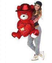 Peluş Oyuncak Ayı Kırmızı Şapkalı Love Kalp Yastıklı 60 Cm Sevgililer Günü Hediyesi