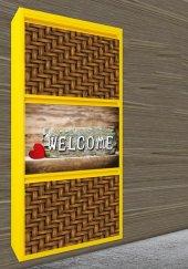 Evbox 3lü Welcome Baskılı Metal Ayakkabılık Fa 026