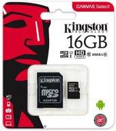 Kingston Canvas Select 16gb 80mb S Class 10 Sdcs Hafıza Kartı Mic