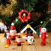 12 Adet Ahşap Yılbaşı Süs Noel Ağacı Süsleme Minyatür Ahşap Süs