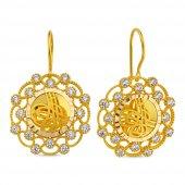 Altın Tuğralı Küpe Bergama Tasarım Sk42 009254542