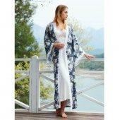 Penye Mood 8429 Kadın Sabahlık Takımı Gri Beyaz
