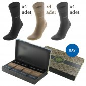 Kişiye Özel İsim Yazılı 12 Li (3 Renk X 4 Adet) Özel Hediye Kutulu Erkek Çorap Seti