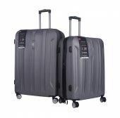 ıt Luggage Büyük Ve Orta Boy Polikarbon İkili Valiz Set Gri 217