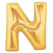 Harf Folyo Balon N Harfi Büyük Boy Balon Altın Sarısı Dore 100cm