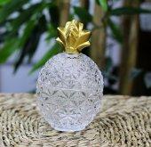 Kristal Cam Kapaklı Yuvarlak Dekoratif Şekerlik Drajelik