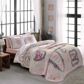 Taç Camille Pembe Polyester Battaniye Seti Çift Kişilik