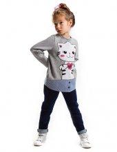 Denokids Hi Cat Kız Çcuk Sweat Shirt + Jean Tayt