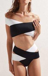 Angelsin Siyah Beyaz Çapraz Bikini Takımı