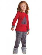 Bsm Kız Çocuk Aile Kombin Kırmızı Pijama Takımı 11380