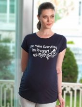 Mel Bee Kelebek Baskılı Lohusa T Shirt Lacivert Mb4504