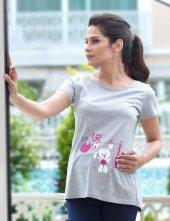 Mel Bee Tavşan Baskılı Lohusa T Shirt Gri Mb4507