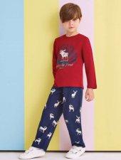 Rolypoly Erkek Çocuk Aile Kombin Bordo Pijama Takımı 1317