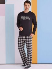 Rolypoly Erkek Kombin Siyah Pijama Takımı 1322