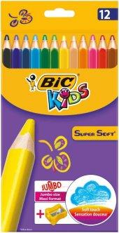 Bic Supersoft Kuru Boya 12 Renk Set + Jumbo Kalem Tıraş