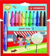 Stabilo Power Max Kalın Uçlu Keçeli Kalem Seti 12 Renk Paket