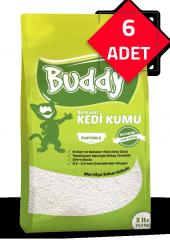 Buddy Bentonit Kedi Kumu 6 Adet (5 Er Lt. Sabun Kokulu)