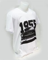 M T Shirt V Yaka 1955 Chevrolet Belair Dijital Baskılı Beyaz