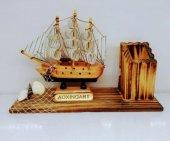 Dekoratif Ahşap Gemi Kalemlik Ofis Masa Aksesuar Gemi Kalemlik