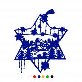 Yılbaşı Ağaçlı Yıldızlı Sticker Yapıştırma 140x120...