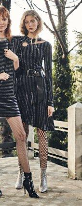 Kasha Asimetrik Yakası Detaylı Bayan Elbise 19ke060 Antrasit