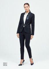 Kasha Deri Şeritli Çizgili Bayan Kumaş Pantolon 19kp013 Siyah