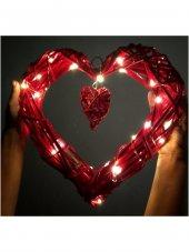Peri Led Işıklı Hasır Kalp Duvar Kapı Süs Sevgililer Günü Hediye