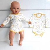 Sarı Biyeli Ayıcıklı Uzun Kollu Omuzdan Ve Alttan Çıt Çıtlı Bebek Badi Zıbın