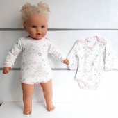Pembe Biyeli Ayıcıklı Uzun Kollu Omuzdan Ve Alttan Çıt Çıtlı Bebek Badi Zıbın