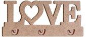 Love Ahşap Anahtarlık