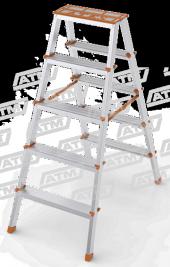 Ateş 5 Li Çift Çıkışlı Alüminyum Merdiven