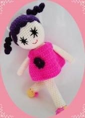 Damla Oyuncak Oyun Arkadaşım Pembe Elbiseli Kız,örgü Oyuncak